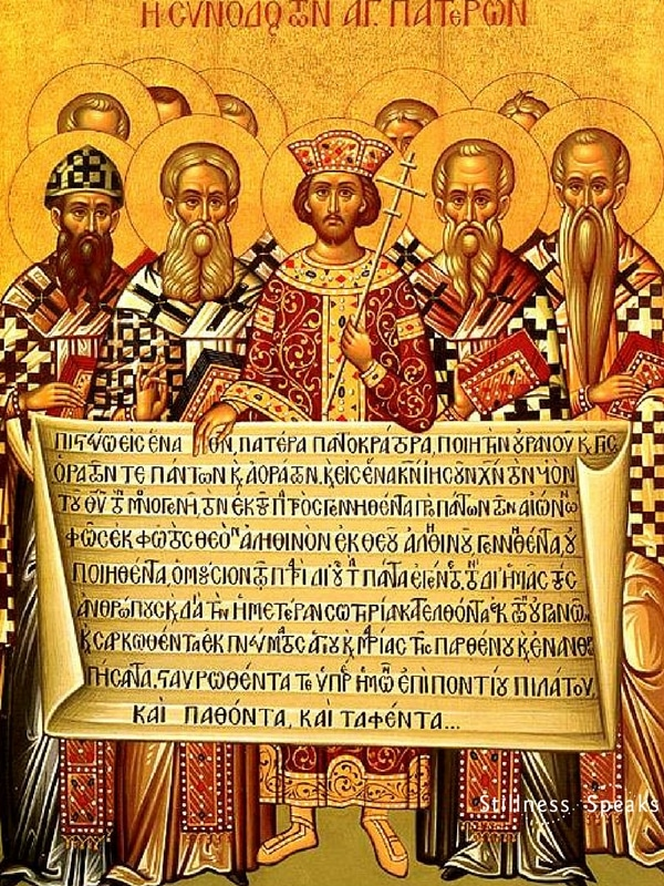 Eastern Christian icon depicting Emperor Constantine and the Fathers of the First Council of Nicaea
