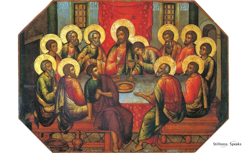 the last supper Jesus and saints with halos