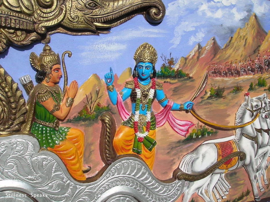 Krishna teaching Arjuna, from Bhagavata Gita