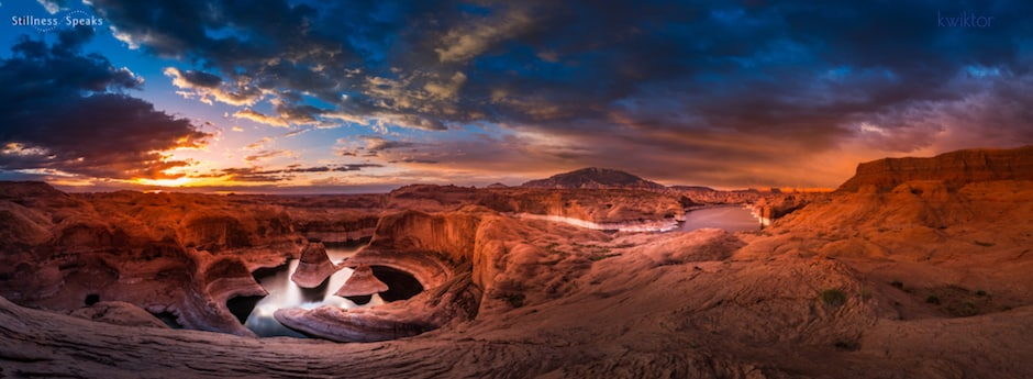 peaceful canyon sunrise panorama