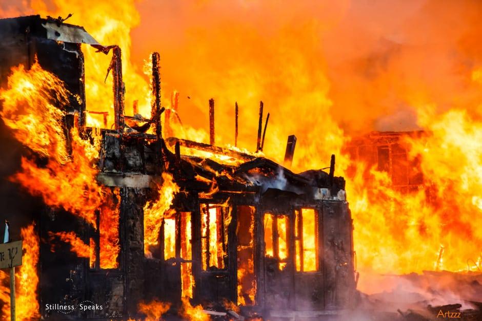 burning house fire tollifson